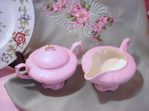 Loma Pottery 1951 Pink Creamer & Sugar
